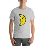 Emoji T-Shirt Store | First Quarter Moon Face emoji t-shirt in Light gray