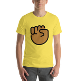 Emoji T-Shirt Store | Raised Fist, Medium Dark Skin Tone emoji t-shirt in Yellow
