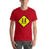 Emoji T-Shirt Store | Children Crossing emoji t-shirt in Red