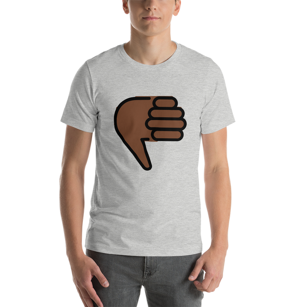 Emoji T-Shirt Store | Thumbs Down, Dark Skin Tone emoji t-shirt in Light gray