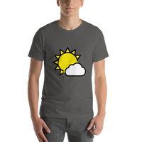 Emoji T-Shirt Store | Sun Behind Small Cloud emoji t-shirt in Dark gray