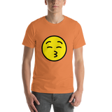 Emoji T-Shirt Store | Kissing Face With Closed Eyes emoji t-shirt in Orange