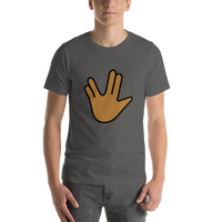Emoji T-Shirt Store | Vulcan Salute, Medium Dark Skin Tone emoji t-shirt in Dark gray