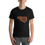 Emoji T-Shirt Store | Right Facing Fist, Dark Skin Tone emoji t-shirt in Black