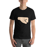 Emoji T-Shirt Store | Right Facing Fist, Light Skin Tone emoji t-shirt in Black
