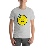 Emoji T-Shirt Store | Downcast Face With Sweat emoji t-shirt in Light gray