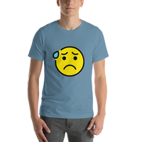 Emoji T-Shirt Store | Anxious Face With Sweat emoji t-shirt in Blue