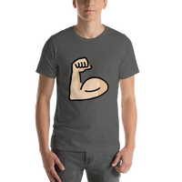 Emoji T-Shirt Store | Flexed Biceps, Light Skin Tone emoji t-shirt in Dark gray