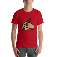 Emoji T-Shirt Store | Writing Hand, Medium Skin Tone emoji t-shirt in Red