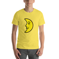 Emoji T-Shirt Store | First Quarter Moon Face emoji t-shirt in Yellow