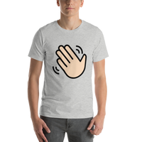 Emoji T-Shirt Store | Waving Hand, Light Skin Tone emoji t-shirt in Light gray