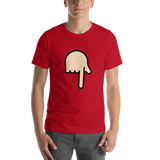 Emoji T-Shirt Store | Backhand Index Pointing Down, Light Skin Tone emoji t-shirt in Red
