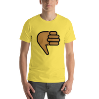 Emoji T-Shirt Store | Thumbs Down, Medium Dark Skin Tone emoji t-shirt in Yellow
