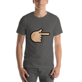 Emoji T-Shirt Store | Backhand Index Pointing Right, Medium Light Skin Tone emoji t-shirt in Dark gray