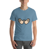 Emoji T-Shirt Store | Open Hands, Light Skin Tone emoji t-shirt in Blue