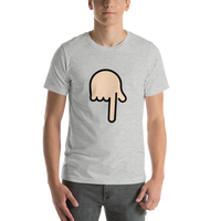 Emoji T-Shirt Store | Backhand Index Pointing Down, Light Skin Tone emoji t-shirt in Light gray