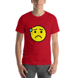 Emoji T-Shirt Store | Anxious Face With Sweat emoji t-shirt in Red