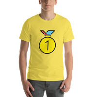 Emoji T-Shirt Store | 1st Place Medal emoji t-shirt in Yellow