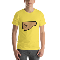 Emoji T-Shirt Store | Left Facing Fist, Medium Skin Tone emoji t-shirt in Yellow