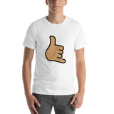 Emoji T-Shirt Store | Call Me Hand, Medium Skin Tone emoji t-shirt in White