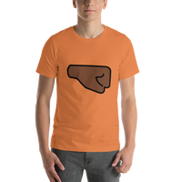 Emoji T-Shirt Store | Right Facing Fist, Dark Skin Tone emoji t-shirt in Orange