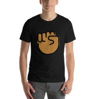 Emoji T-Shirt Store | Raised Fist, Medium Dark Skin Tone emoji t-shirt in Black