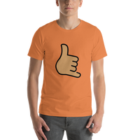 Emoji T-Shirt Store | Call Me Hand, Medium Skin Tone emoji t-shirt in Orange