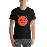 Emoji T-Shirt Store | Smiling Face With Horns emoji t-shirt in Black