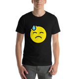 Emoji T-Shirt Store | Downcast Face With Sweat emoji t-shirt in Black