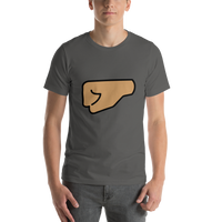 Emoji T-Shirt Store | Left Facing Fist, Medium Skin Tone emoji t-shirt in Dark gray