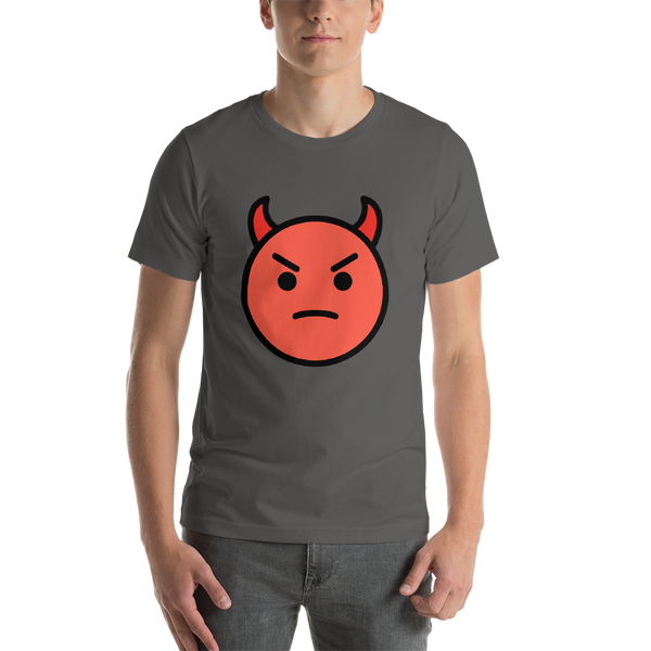 Emoji T-Shirt Store | Angry Face With Horns emoji t-shirt in Dark gray