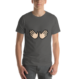 Emoji T-Shirt Store | Open Hands, Light Skin Tone emoji t-shirt in Dark gray