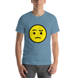 Emoji T-Shirt Store | Face With Raised Eyebrow emoji t-shirt in Blue