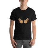 Emoji T-Shirt Store | Open Hands, Medium Skin Tone emoji t-shirt in Black