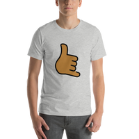 Emoji T-Shirt Store | Call Me Hand, Medium Dark Skin Tone emoji t-shirt in Light gray