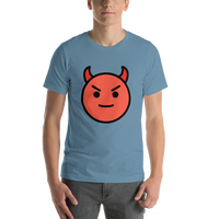 Emoji T-Shirt Store | Smiling Face With Horns emoji t-shirt in Blue