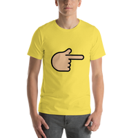 Emoji T-Shirt Store | Backhand Index Pointing Right, Medium Light Skin Tone emoji t-shirt in Yellow