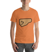 Emoji T-Shirt Store | Left Facing Fist, Medium Skin Tone emoji t-shirt in Orange