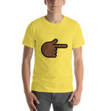 Emoji T-Shirt Store | Backhand Index Pointing Right, Dark Skin Tone emoji t-shirt in Yellow
