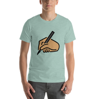 Emoji T-Shirt Store | Writing Hand, Medium Skin Tone emoji t-shirt in Green