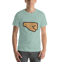 Emoji T-Shirt Store | Right Facing Fist, Medium Skin Tone emoji t-shirt in Green