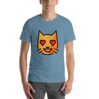 Emoji T-Shirt Store | Smiling Cat With Heart-Eyes emoji t-shirt in Blue