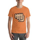 Emoji T-Shirt Store | Oncoming Fist, Medium Light Skin Tone emoji t-shirt in Orange