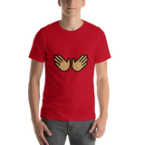 Emoji T-Shirt Store | Open Hands, Medium Skin Tone emoji t-shirt in Red
