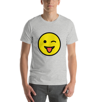 Emoji T-Shirt Store | Winking Face With Tongue emoji t-shirt in Light gray