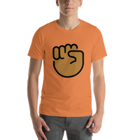 Emoji T-Shirt Store | Raised Fist, Medium Dark Skin Tone emoji t-shirt in Orange