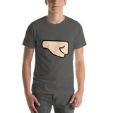 Emoji T-Shirt Store | Right Facing Fist, Light Skin Tone emoji t-shirt in Dark gray