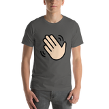 Emoji T-Shirt Store | Waving Hand, Light Skin Tone emoji t-shirt in Dark gray