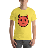 Emoji T-Shirt Store | Smiling Face With Horns emoji t-shirt in Yellow