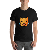 Emoji T-Shirt Store | Cat With Tears Of Joy emoji t-shirt in Black
